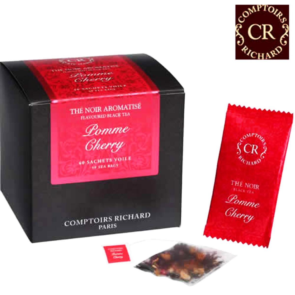 Comptoirs Richard Pomme Cherry - 40 τεμάχια φακελάκια μαύρο τσάι φρούτων μήλο και κεράσι